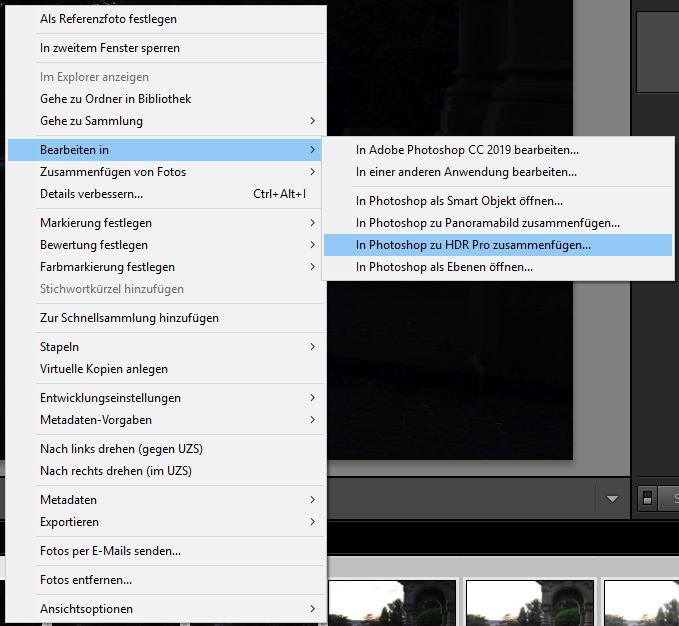 HDR mit Photoshop aus Lightroom erstellen